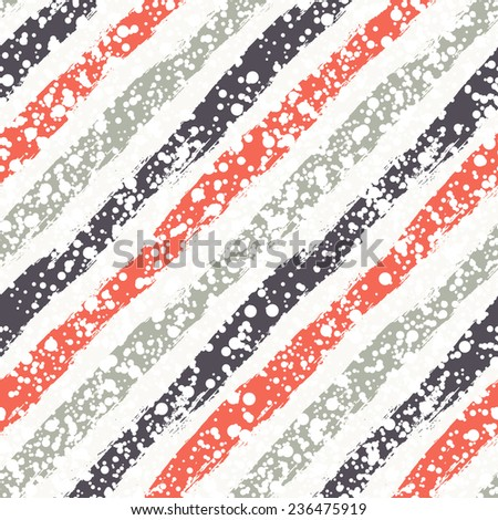 Vector seamless pattern with diagonal stripes. Christmas background with paint brush strokes. Graphical colorful texture with snowy covering. - stock vector