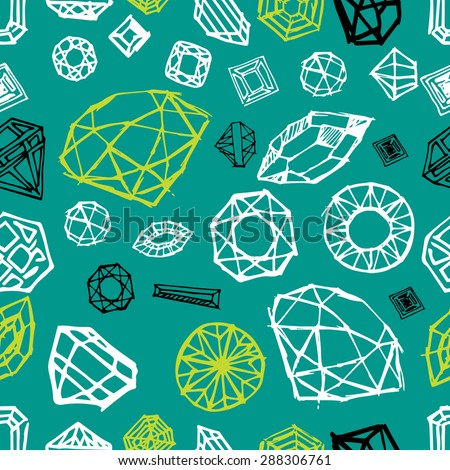 Vector seamless pattern with diamond design elements - cutting samples - stock vector