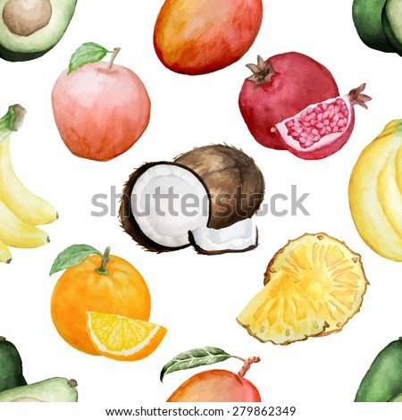 stock vector vector seamless pattern with different types of watercolor hand drawn fruits wallpaper for food 279862349 - Каталог — Фотообои «Еда, фрукты, для кухни»