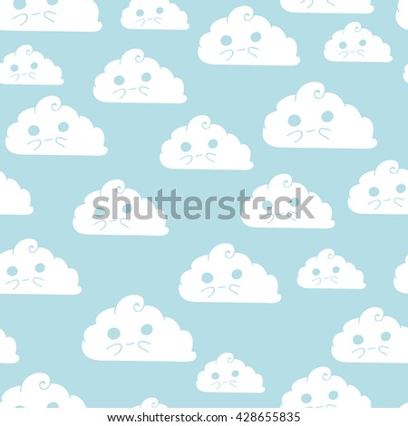 Vector seamless pattern with doodle cute clouds. Childish pattern - stock vector