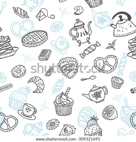 "Vector seamless pattern with doodle ""Tea and sweets"" elements. Perfect for menu  decoration, interior cafe design or tissue print."