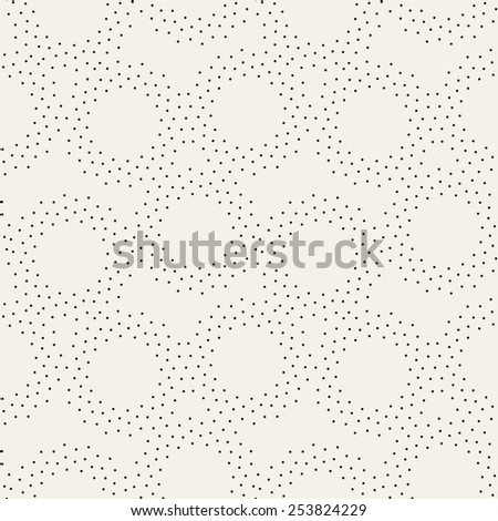 Vector seamless pattern with dotted circles. Stylish background with randomly disposed rings. Monochrome minimalist graphic design. Tileable simple texture from small black dots