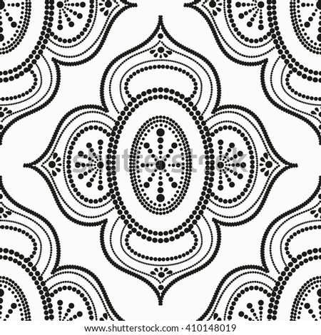 Vector seamless pattern with dotted ornaments made in black and white. EPS 8. - stock vector