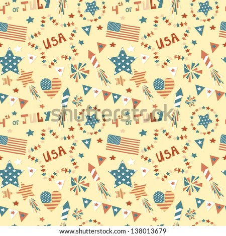 Vector seamless pattern with elements for Independence day - stock vector