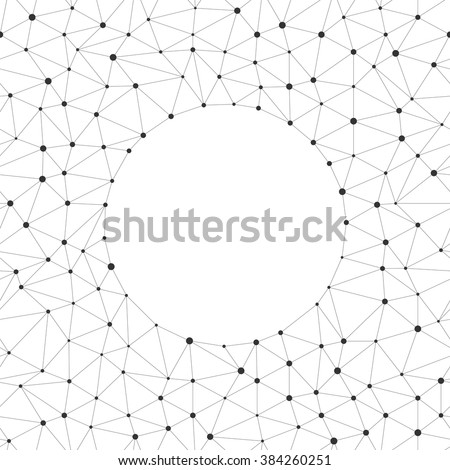 Vector seamless pattern with empty in the center. Repeating geometric triangle line with dots on the nodes of the background. Abstract texture linear grid. Modern illustration for web site and print - stock vector