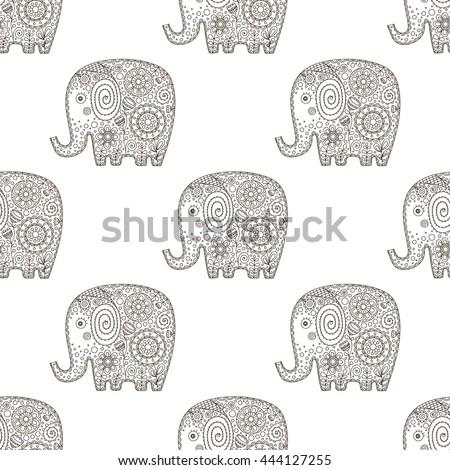 Cute Flat Elephant Vector Seamless Pattern Stock Vector 450428242 ...