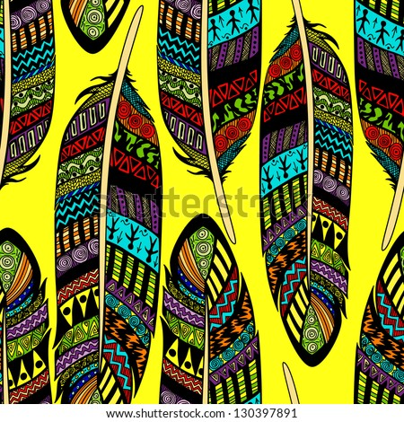 Vector seamless pattern with etno ornate colorful feathers - stock vector