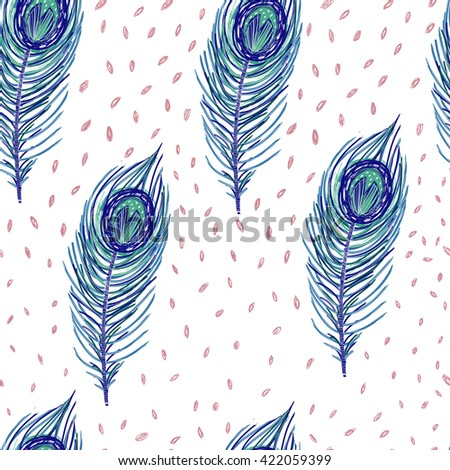 Vector seamless pattern with fabulous feathers. Cute childish image. - stock vector