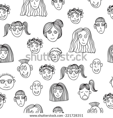 Vector seamless pattern with faces of different people in black and white colors