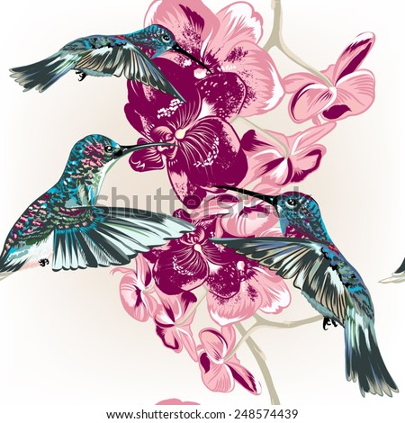 Vector seamless pattern with fashion stylish orchids and hummingbirds - stock vector