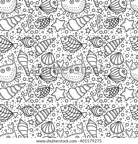 Vector Seamless Pattern Fish Star Shell Stock Vector 404704552