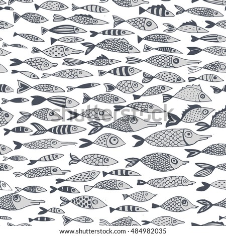 vector seamless pattern with fishes, hand drawn illustration