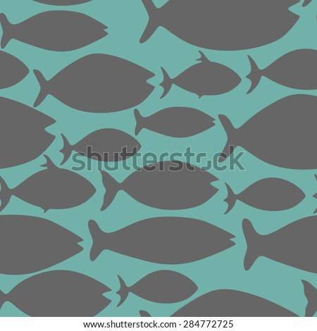 Vector seamless pattern with fishes. Illustration vector of different kinds of Fish Silhouette.