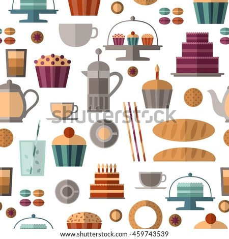 Vector seamless pattern with flat cakes, cupcakes, cookies, cups etc. Can be used for decoration of cards, web pages, textile, napkins etc.