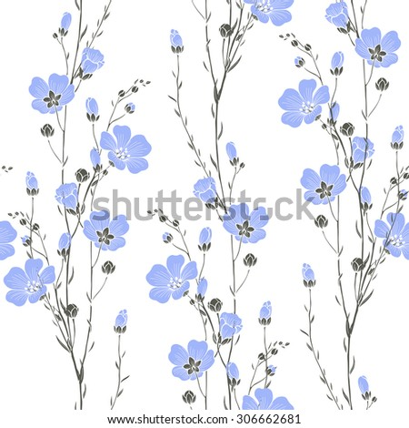 Vector seamless pattern with flax flowers. - stock vector