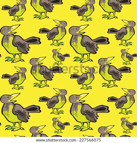 Vector Seamless pattern with flock of birds on yellow background. Crow, blackbird. - stock vector