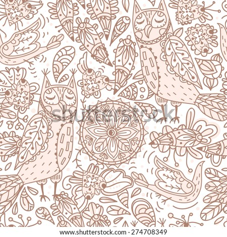 vector  seamless pattern with floral elements and decorative owls - stock vector