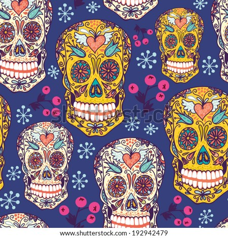 Vector seamless pattern with floral skulls. - stock vector