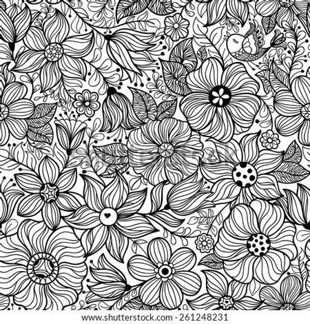 Vector seamless pattern with flower and birds. Black and white illustration - stock vector