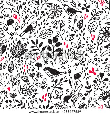 Vector seamless pattern with flower and birds. Can be used for desktop wallpaper or frame for a wall hanging or poster,for pattern fills, surface textures, web page backgrounds, textile and more. - stock vector