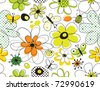 vector seamless pattern with flowers and butterflies - stock vector