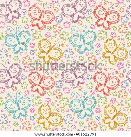 Vector seamless pattern with flowers and butterflies of doodles. Floral background in hand drawn childish style. Ornamental decorative illustration for print, web - stock vector