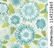 Vector seamless pattern with flowers and leaves. Floral colorful summery background with stylized blooming chrysanthemums. Abstract simple ornamental illustration in tints of blue and green - stock vector