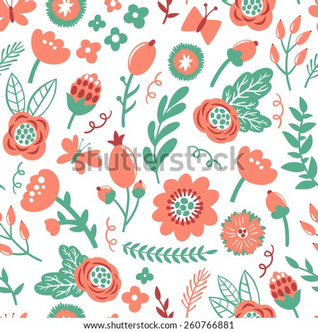 Vector seamless pattern with flowers, berries, branches, leaves and butterflies. Vintage hand drawing floral texture. Vintage natural background.