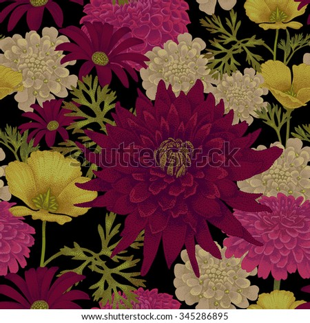 Vector seamless pattern with flowers eschscholzia, daisy, dahlia on a black background. Floral illustration in vintage style. - stock vector