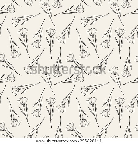 Vector seamless pattern with flowers. Modern stylish texture. Repeating geometric tiles. Monochrome graphic design. Stylized floral background - stock vector