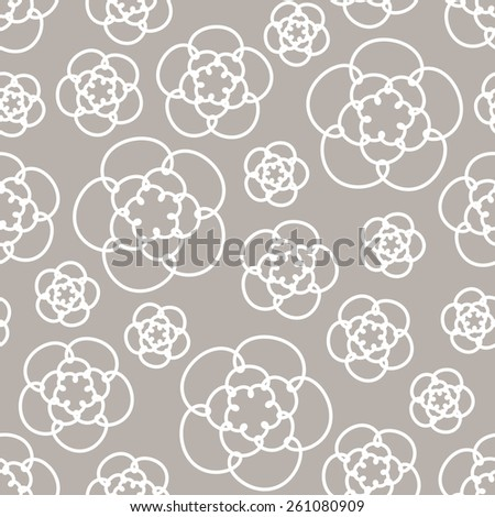Vector seamless pattern with flowers of doodles. Floral cute linear background. Ornamental decorative illustration for print, web - stock vector