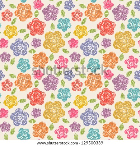 Vector seamless pattern with flowers of doodles made using stencil. Cute floral colorful background in hand draw childish style. Abstract summery simple illustration. Ornamental texture for print, web - stock vector