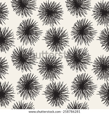 Vector seamless pattern with fluffy doodles. Hand drawn monochrome design.