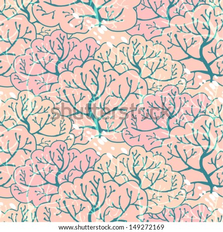 Vector seamless pattern with forest, eps10 - stock vector