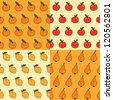 Vector seamless pattern with fruits - apple, orange, pear, lemon. Can be used for wallpaper, web page background, wrapping, textile and scrapbook. - stock vector