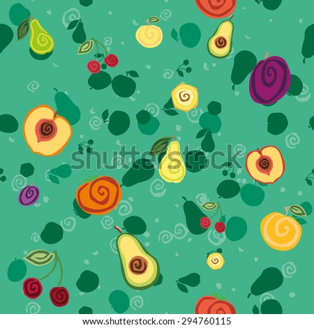 Vector seamless pattern with fruits on green background - stock vector