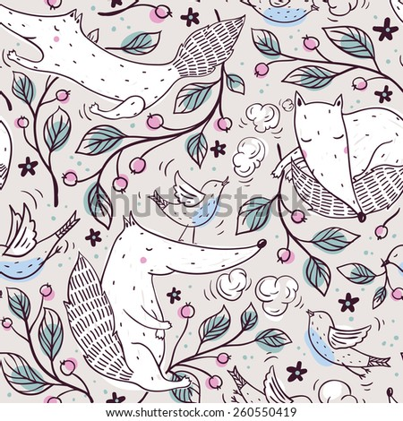 vector seamless pattern with funny foxes, birds and cherry branches - stock vector