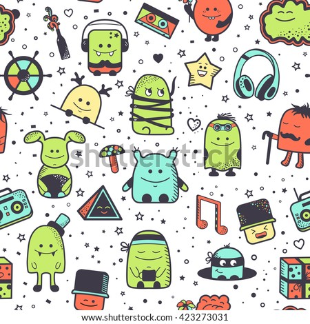 Vector seamless pattern with funny monsters. Cool hand drawn characters on white background. Cartoon hand drawn doodles, children's seamless background. Set of colorful unusual creatures - stock vector
