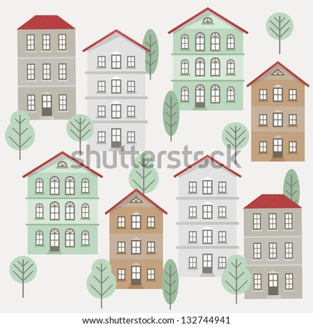 Vector seamless pattern with funny vintage houses on white background