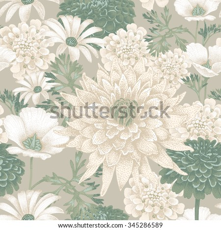 Vector seamless pattern with garden flowers. Floral illustration in vintage style for decoration fabrics, textiles, paper, wallpaper. - stock vector