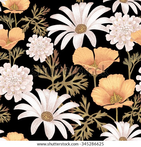 Vector seamless pattern with garden flowers. Floral illustration in vintage style on a black background. - stock vector