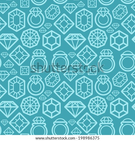 Vector seamless pattern with gem and diamond icons - texture and design element - stock vector