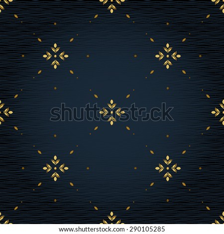 Vector seamless pattern with golden ornament. Vintage element for design in Eastern style. Ornamental lace tracery. Simple floral decor for wallpaper. Endless texture. Dark pattern fill. - stock vector