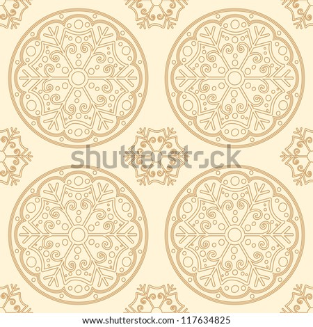 Vector Seamless Pattern with golden snowflakes