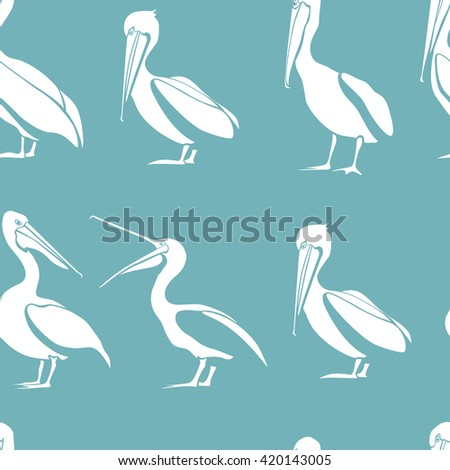 Vector seamless pattern with graceful pelicans.  Beautiful design elements, perfect for prints and patterns. - stock vector
