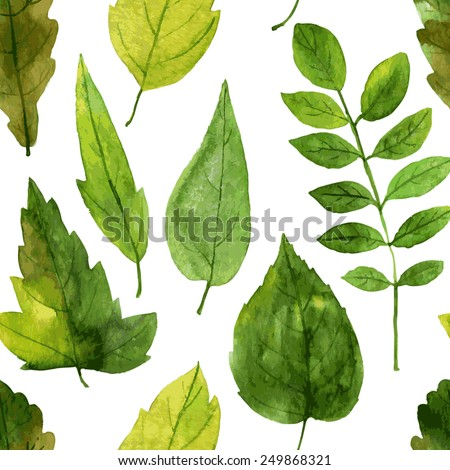 vector seamless pattern with green leaves drawing by watercolor, hand drawn vector elements - stock vector