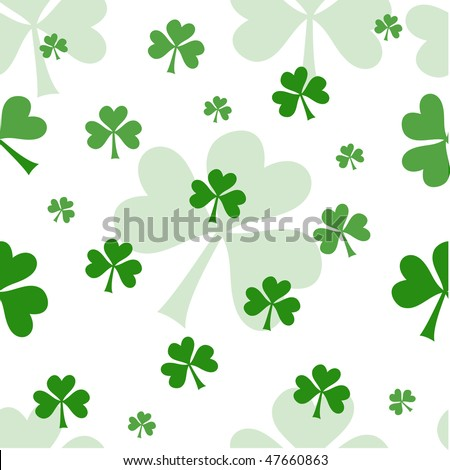 Vector seamless pattern with green shamrocks on white background - stock vector