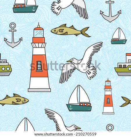 Vector seamless pattern with gulls, lighthouse and ships - stock vector