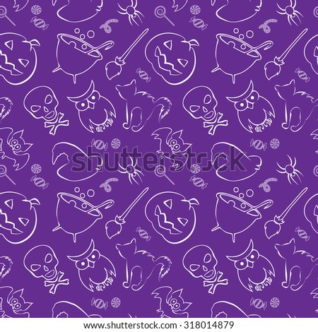 Vector seamless pattern with Halloween design elements. Repeating Halloween background for wrapping paper, scrap-booking or textile design. - stock vector
