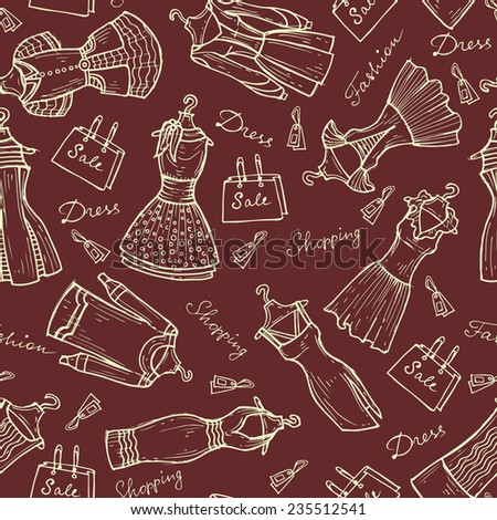 Vector seamless pattern with hand drawn and beautiful women's dresses on burgundy background. Background for use in design, web site, packing, textile, fabric - stock vector